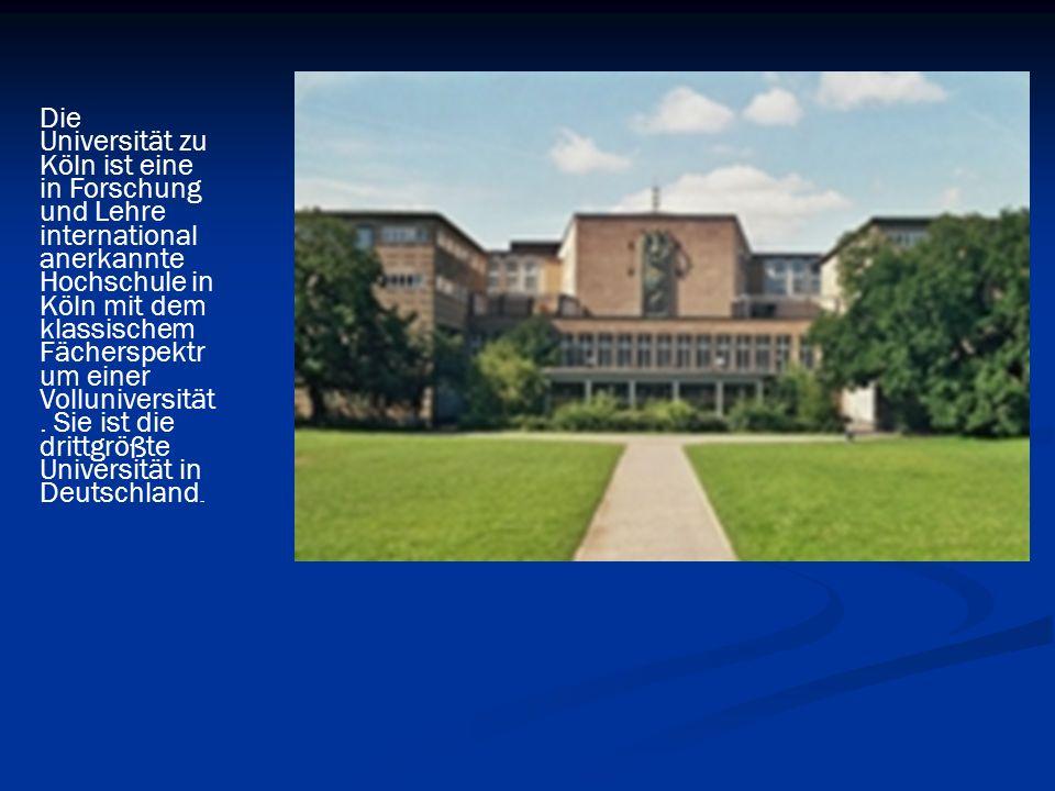 Die Universität zu Köln ist eine in Forschung und Lehre international anerkannte Hochschule in Köln mit dem klassischem Fächerspektrum einer Volluniversität.