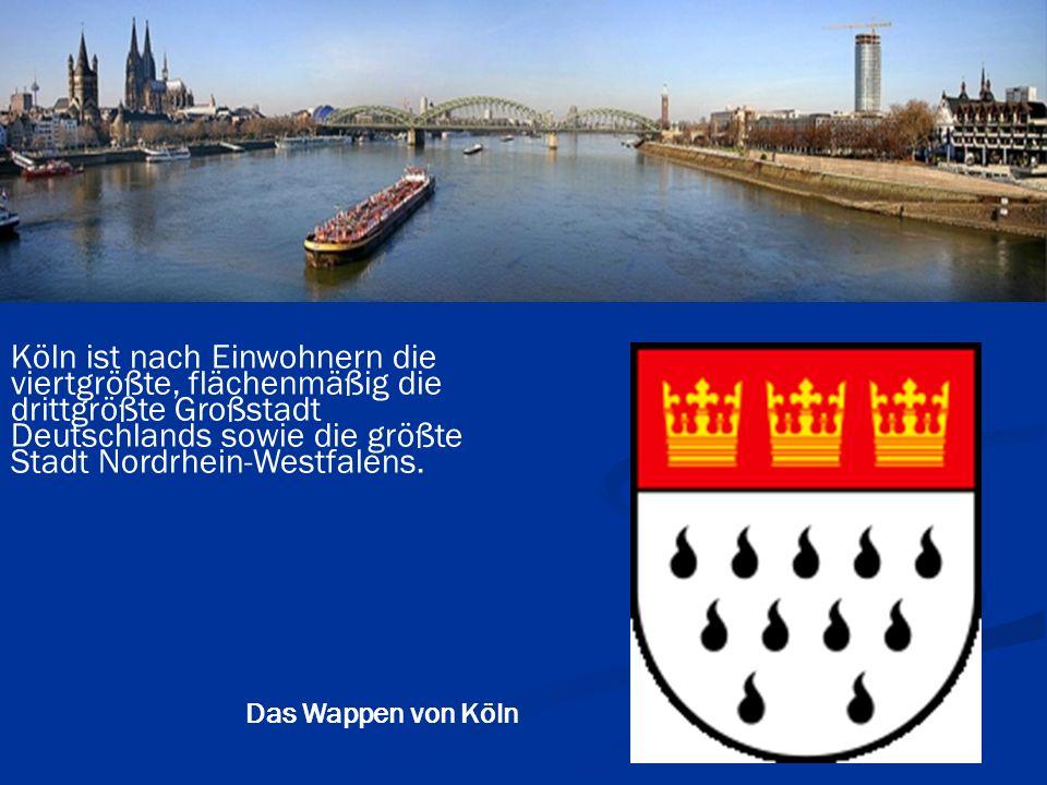 Köln ist nach Einwohnern die viertgrößte, flächenmäßig die drittgrößte Großstadt Deutschlands sowie die größte Stadt Nordrhein-Westfalens.