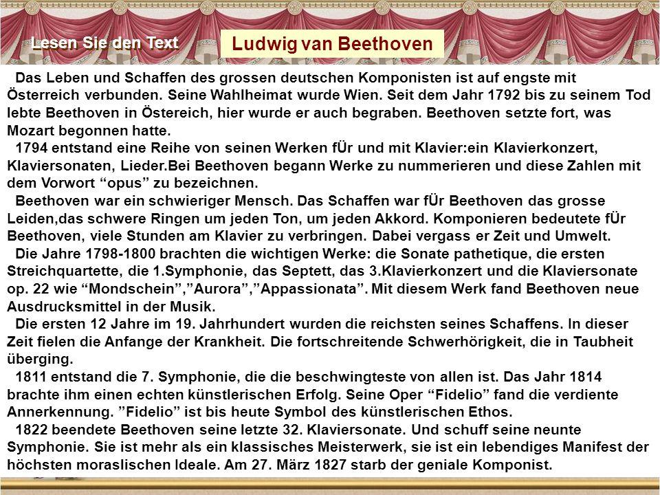 Ludwig van Beethoven Lesen Sie den Text