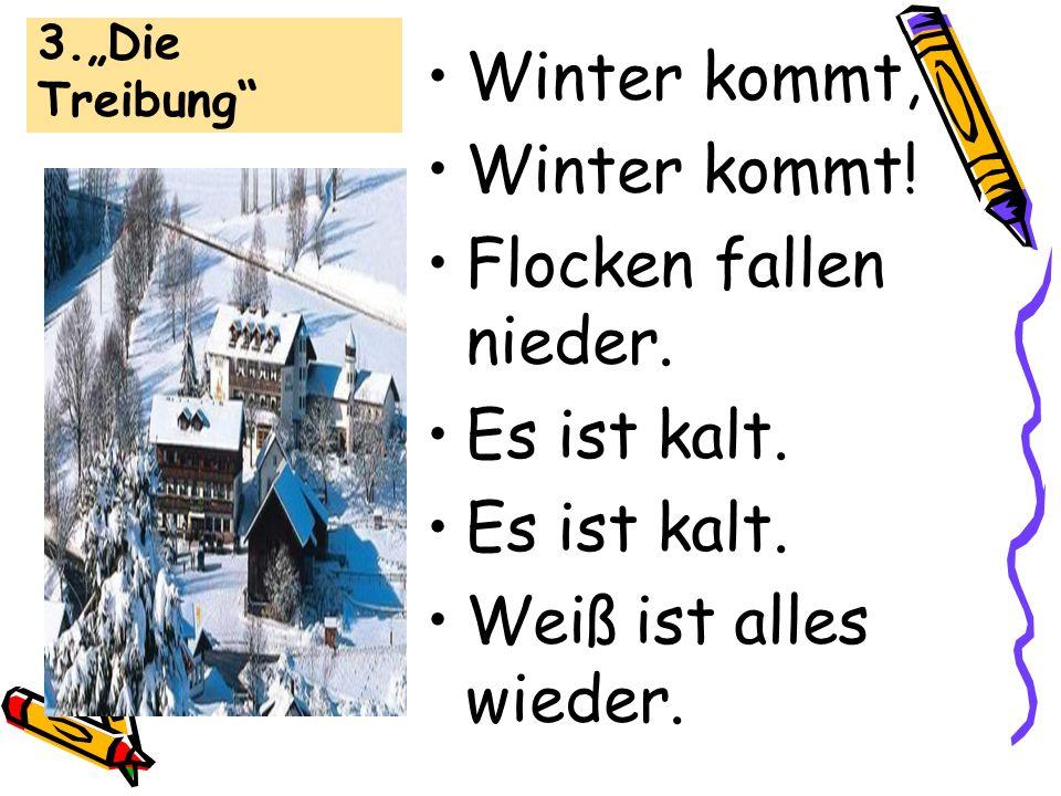 Winter kommt, Winter kommt! Flocken fallen nieder. Es ist kalt.