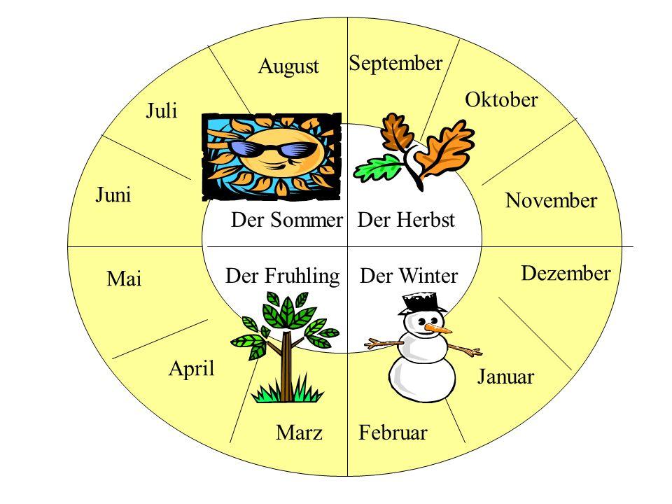 August September. Oktober. Juli. Juni. November. Der Sommer. Der Herbst. Der Fruhling. Der Winter.
