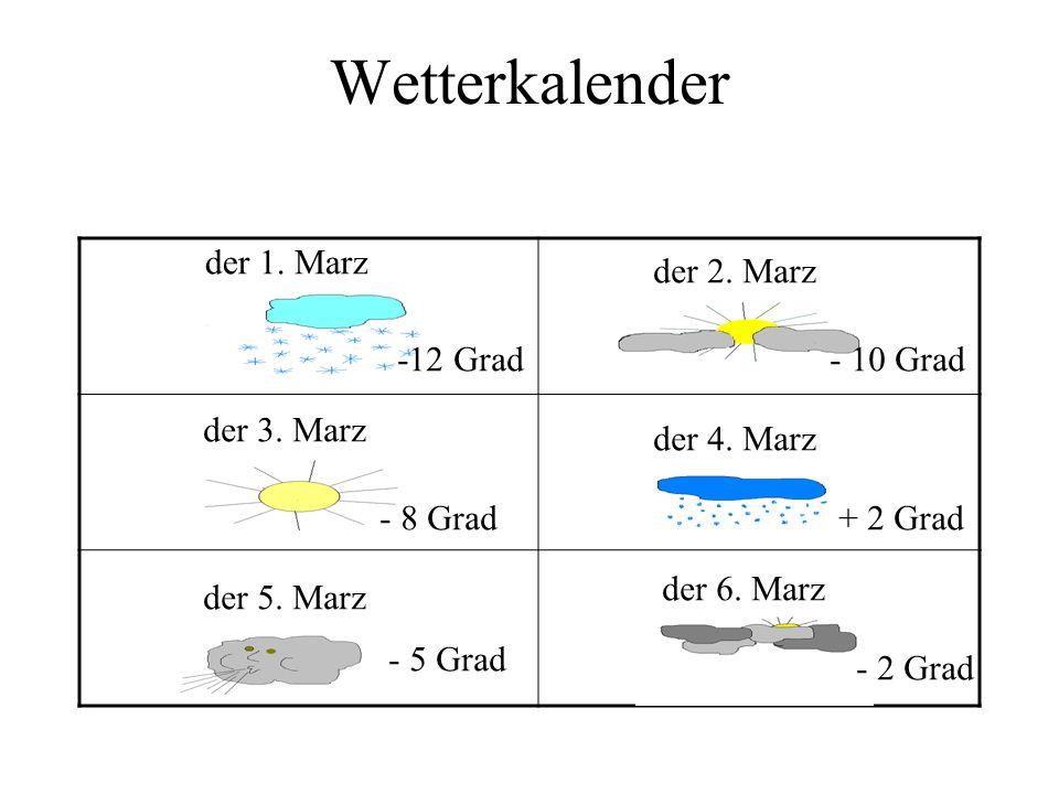 Wetterkalender der 1. Marz der 2. Marz -12 Grad - 10 Grad der 3. Marz