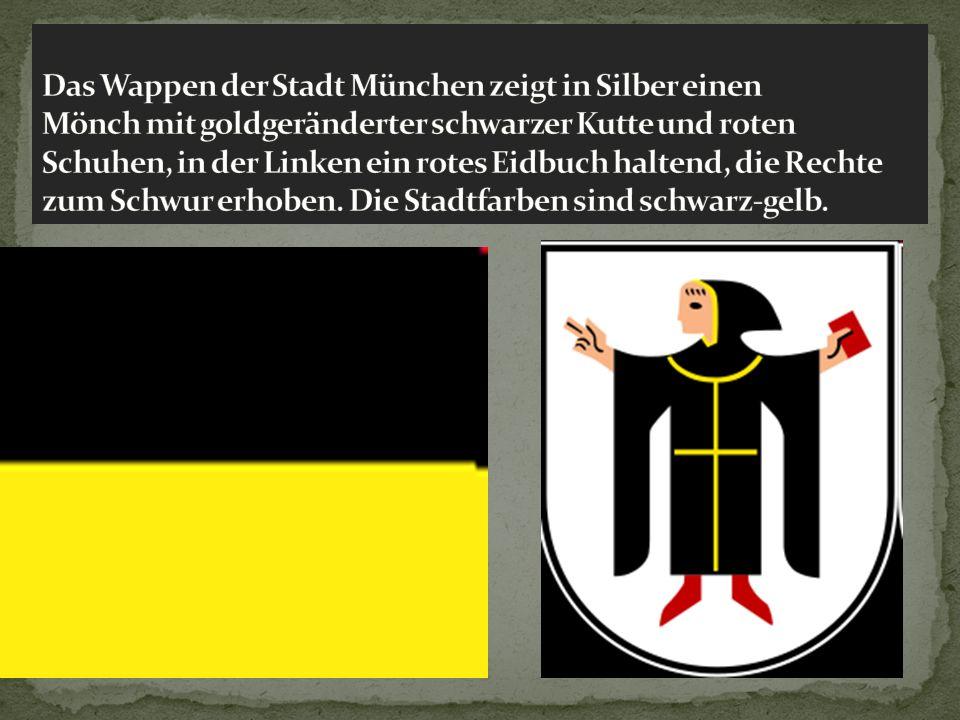 Das Wappen der Stadt München zeigt in Silber einen Mönch mit goldgeränderter schwarzer Kutte und roten Schuhen, in der Linken ein rotes Eidbuch haltend, die Rechte zum Schwur erhoben.