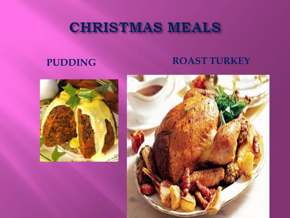 CHRISTMAS MEALS PUDDING ROAST TURKEY