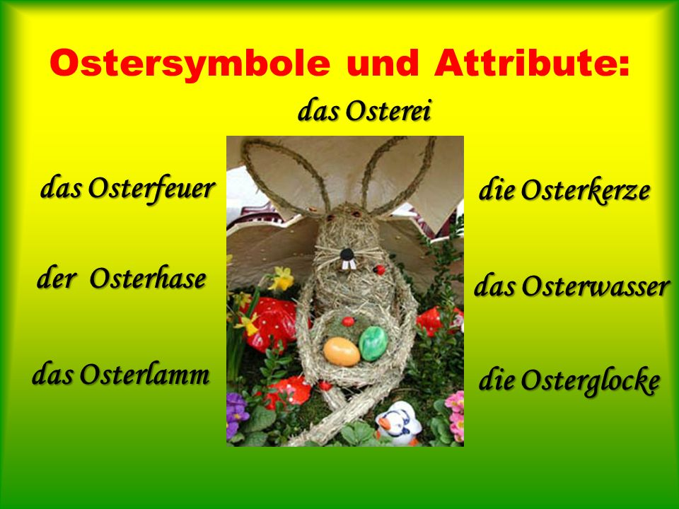 Ostersymbole und Attribute:
