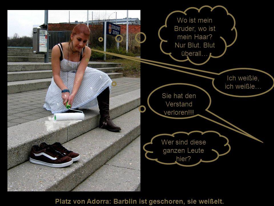 Platz von Adorra: Barblin ist geschoren, sie weißelt.