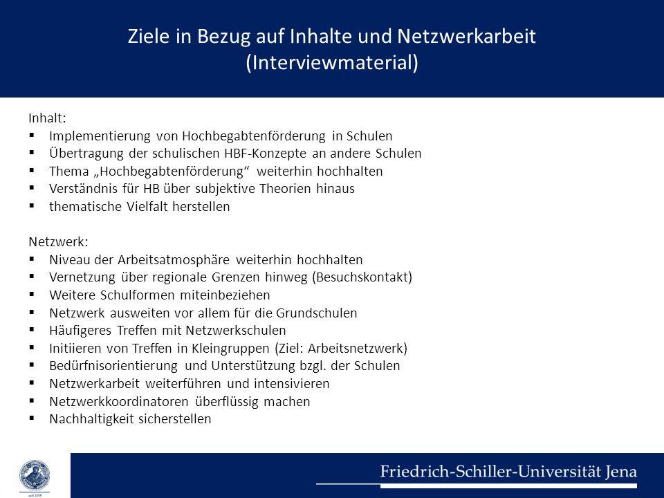 Ziele in Bezug auf Inhalte und Netzwerkarbeit (Interviewmaterial)