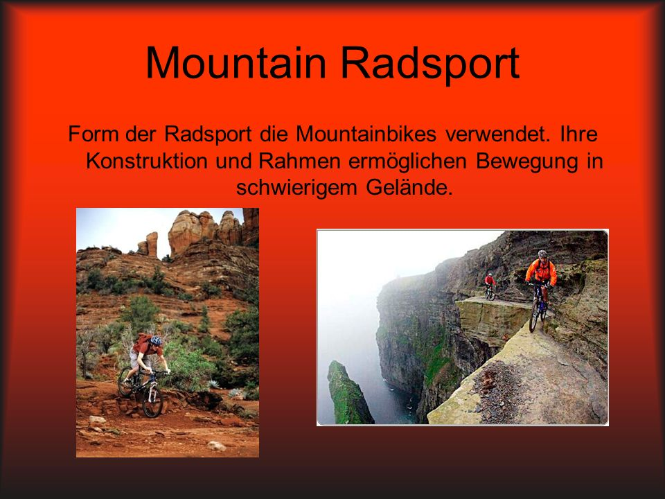 Mountain Radsport Form der Radsport die Mountainbikes verwendet.