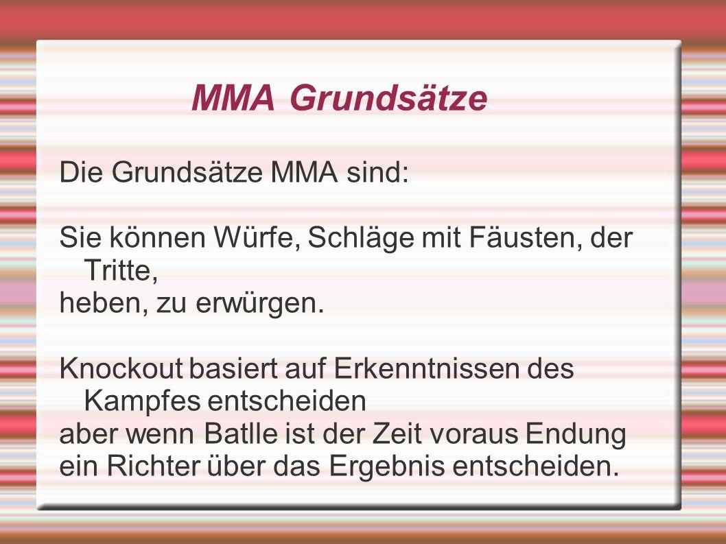 MMA Grundsätze Die Grundsätze MMA sind: