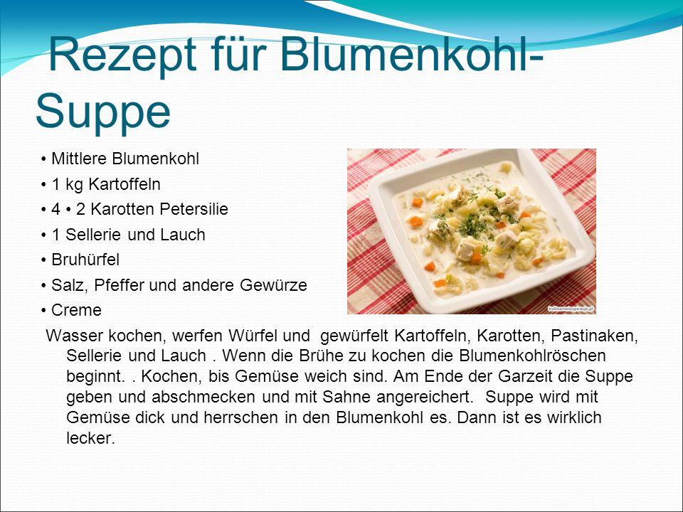 Rezept für Blumenkohl-Suppe