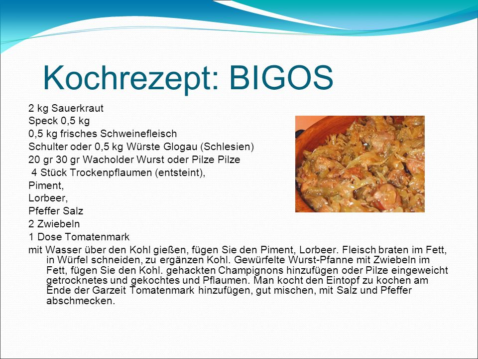 Kochrezept: BIGOS 2 kg Sauerkraut Speck 0,5 kg