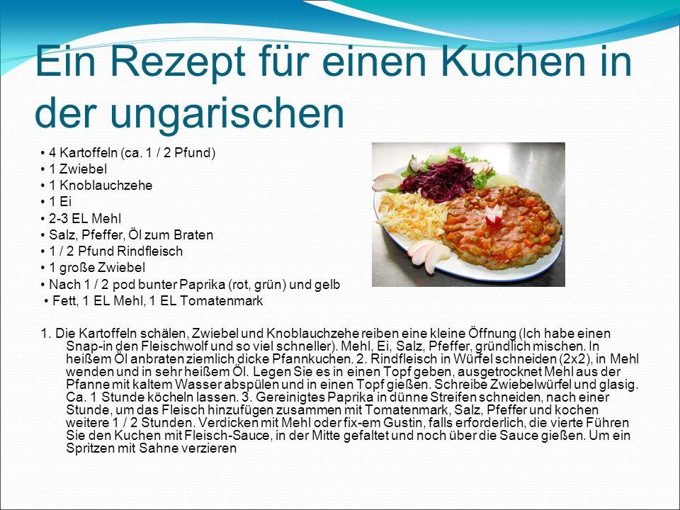 Ein Rezept für einen Kuchen in der ungarischen