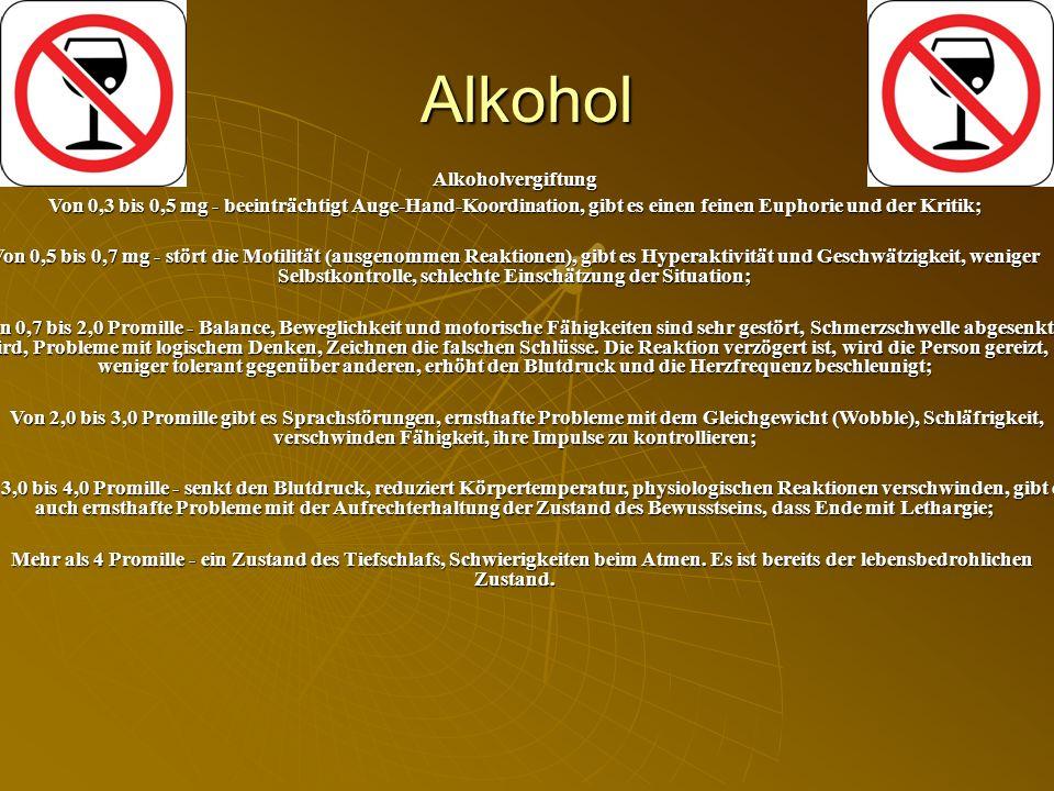 Alkohol Alkoholvergiftung
