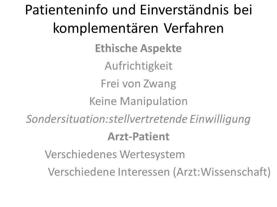 Patienteninfo und Einverständnis bei komplementären Verfahren