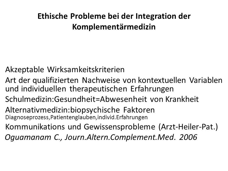 Ethische Probleme bei der Integration der Komplementärmedizin