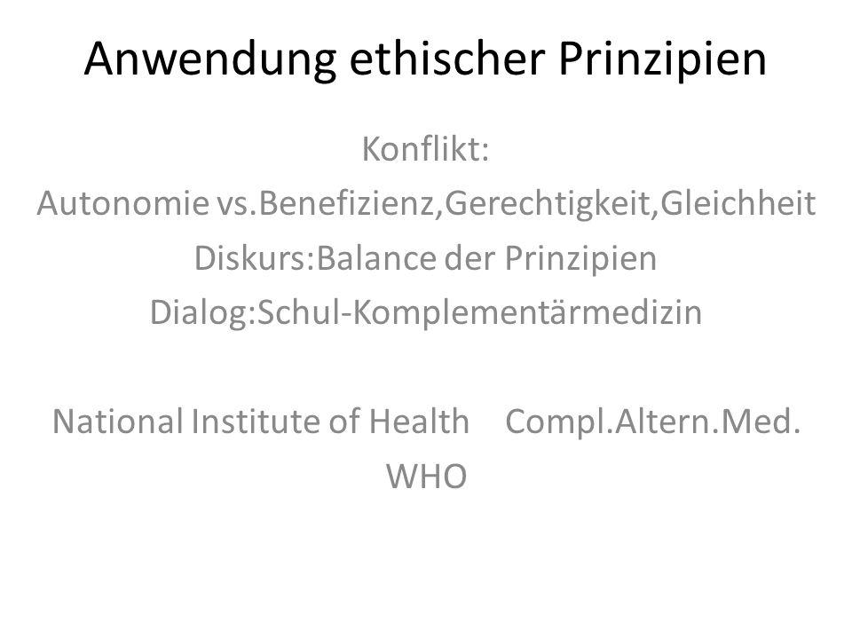 Anwendung ethischer Prinzipien