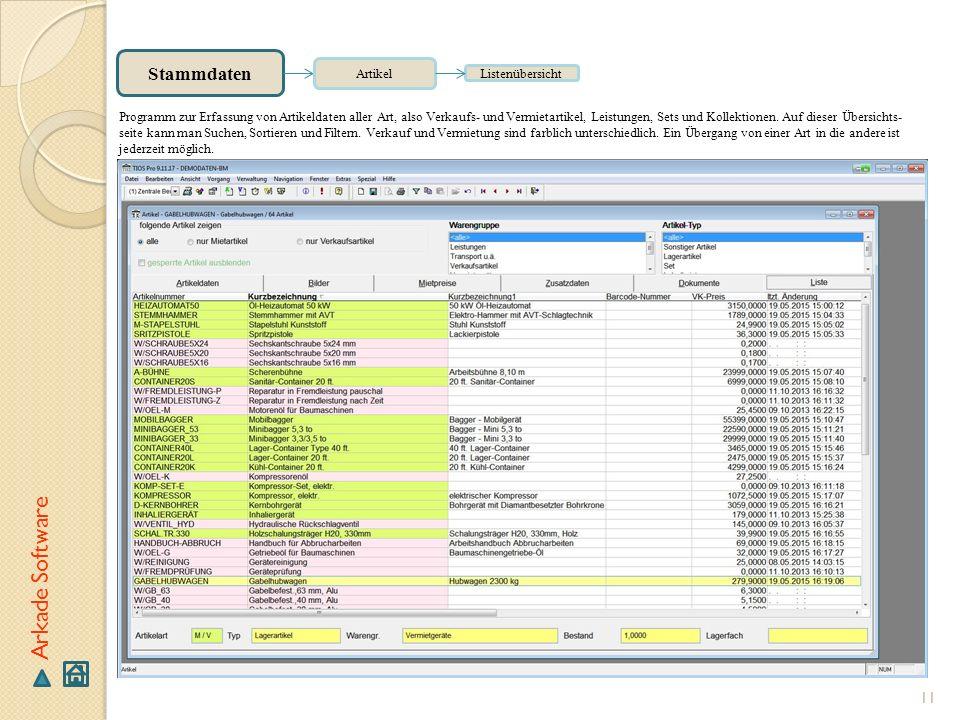 Arkade Software Stammdaten Artikel Listenübersicht