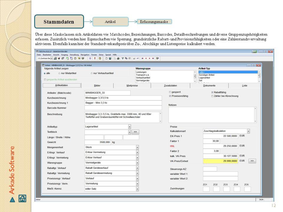 Arkade Software Stammdaten Artikel Erfassungsmaske