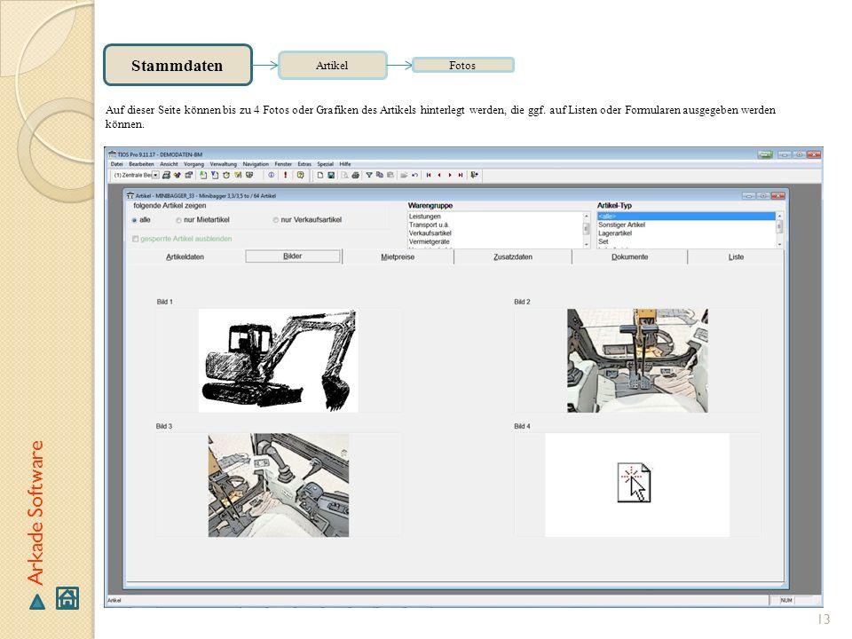 Arkade Software Stammdaten Artikel Fotos