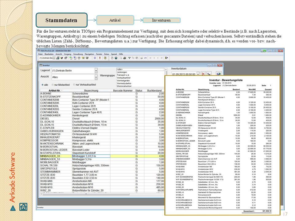 Arkade Software Stammdaten Artikel Inventuren