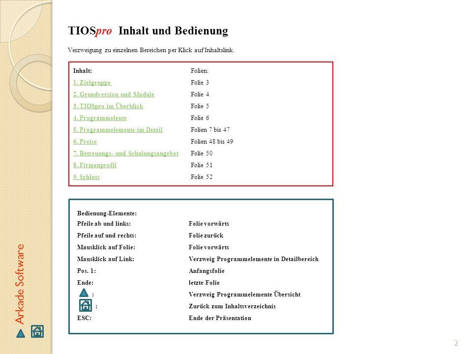 TIOSpro Inhalt und Bedienung