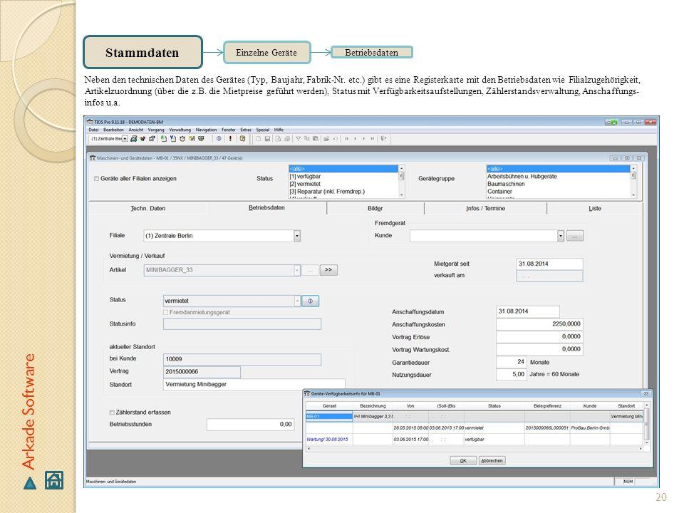 Arkade Software Stammdaten Einzelne Geräte Betriebsdaten