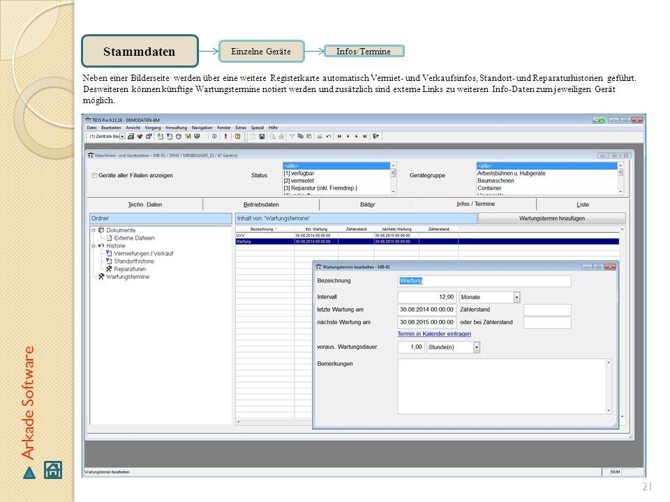 Arkade Software Stammdaten Einzelne Geräte Infos/Termine