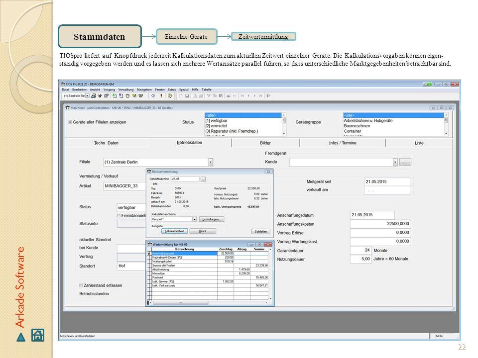 Arkade Software Stammdaten Einzelne Geräte Zeitwertermittlung