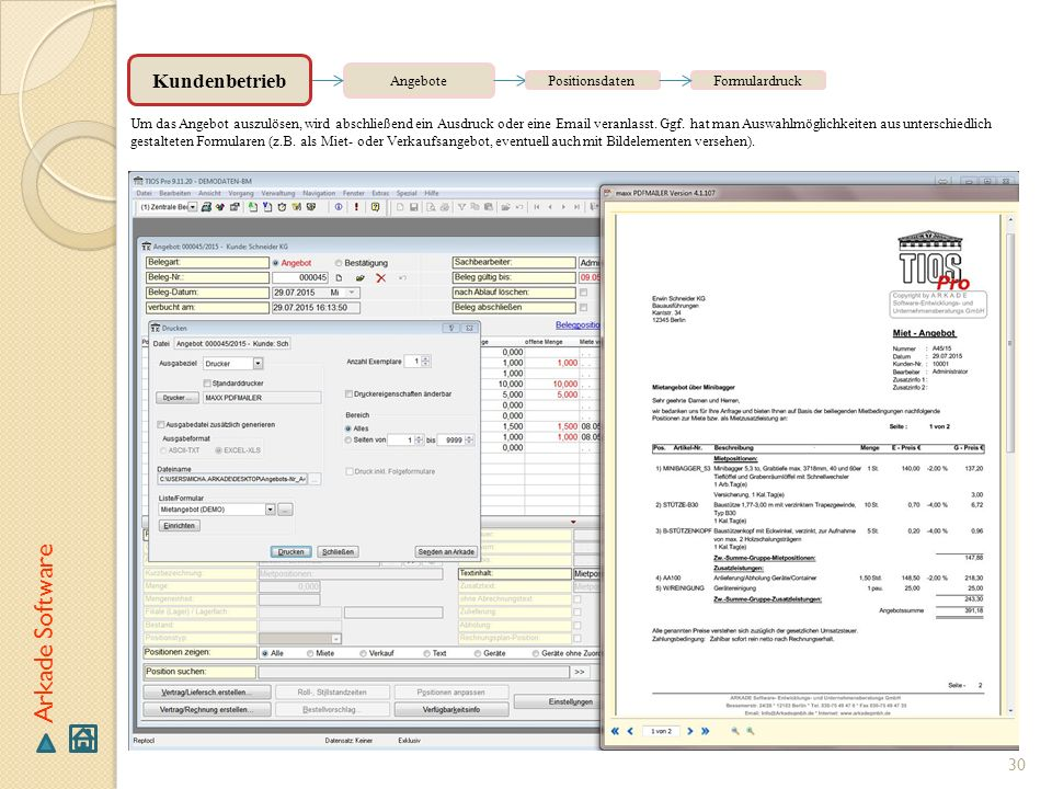 Arkade Software Kundenbetrieb Angebote Positionsdaten Formulardruck