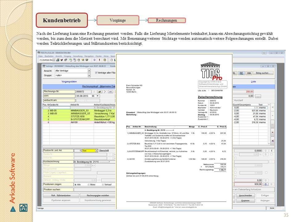 Arkade Software Kundenbetrieb Vorgänge Rechnungen