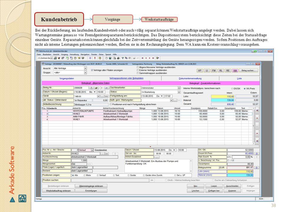 Arkade Software Kundenbetrieb Vorgänge Werkstattaufträge