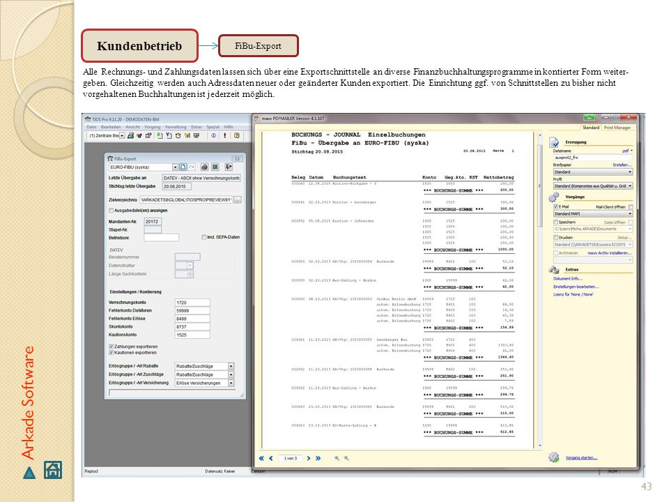Arkade Software Kundenbetrieb FiBu-Export