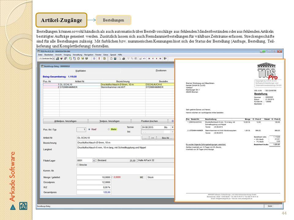 Arkade Software Artikel-Zugänge Bestellungen