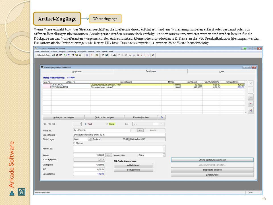 Arkade Software Artikel-Zugänge Wareneingänge