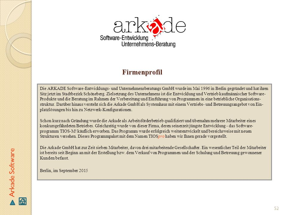 Firmenprofil Arkade Software
