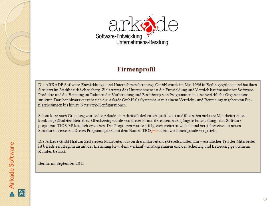 Firmenprofil Arkade Software
