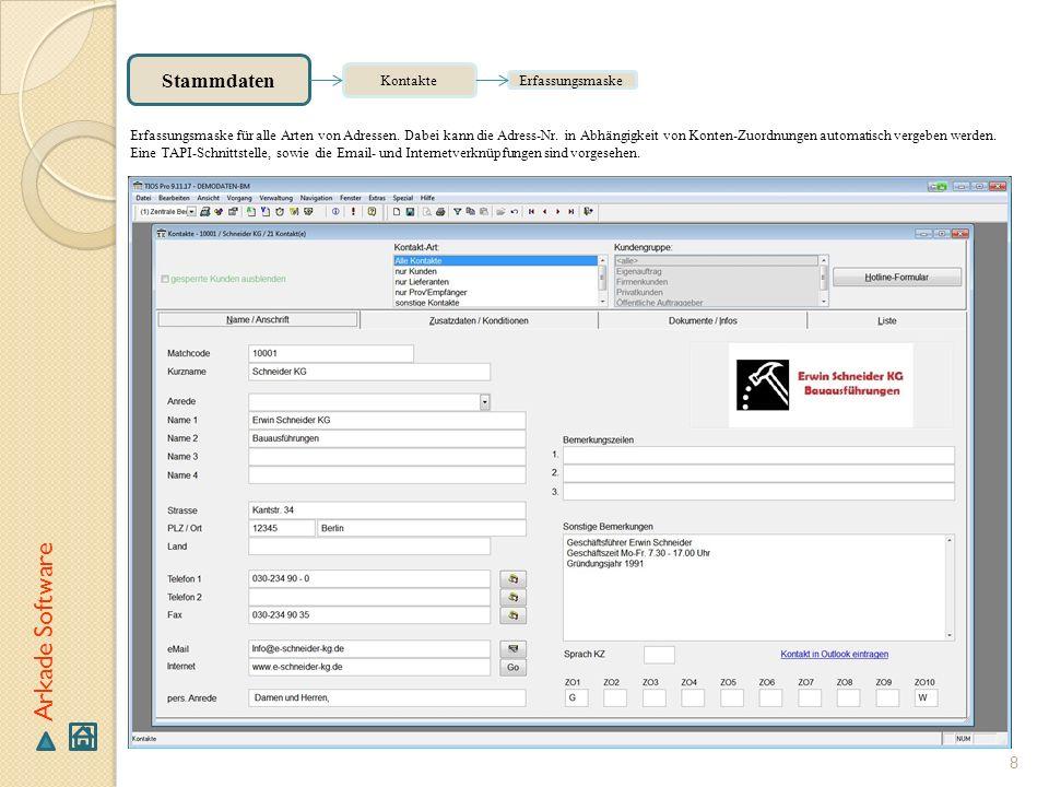 Arkade Software Stammdaten Kontakte Erfassungsmaske