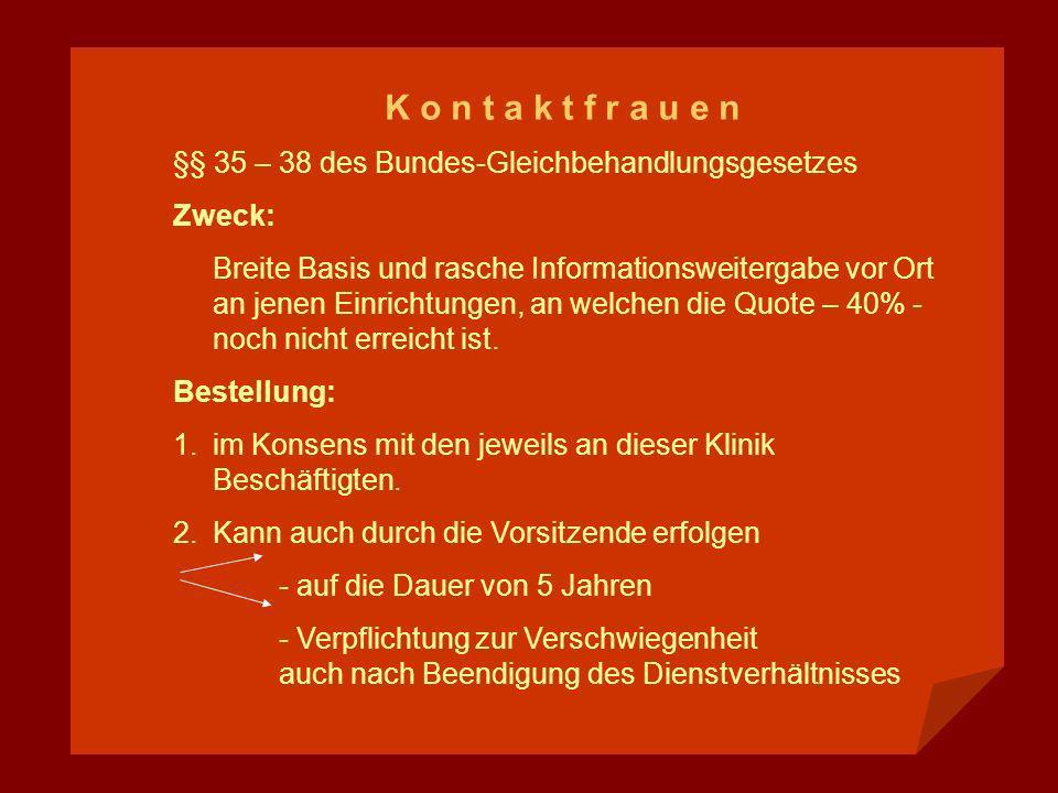 K o n t a k t f r a u e n §§ 35 – 38 des Bundes-Gleichbehandlungsgesetzes. Zweck: