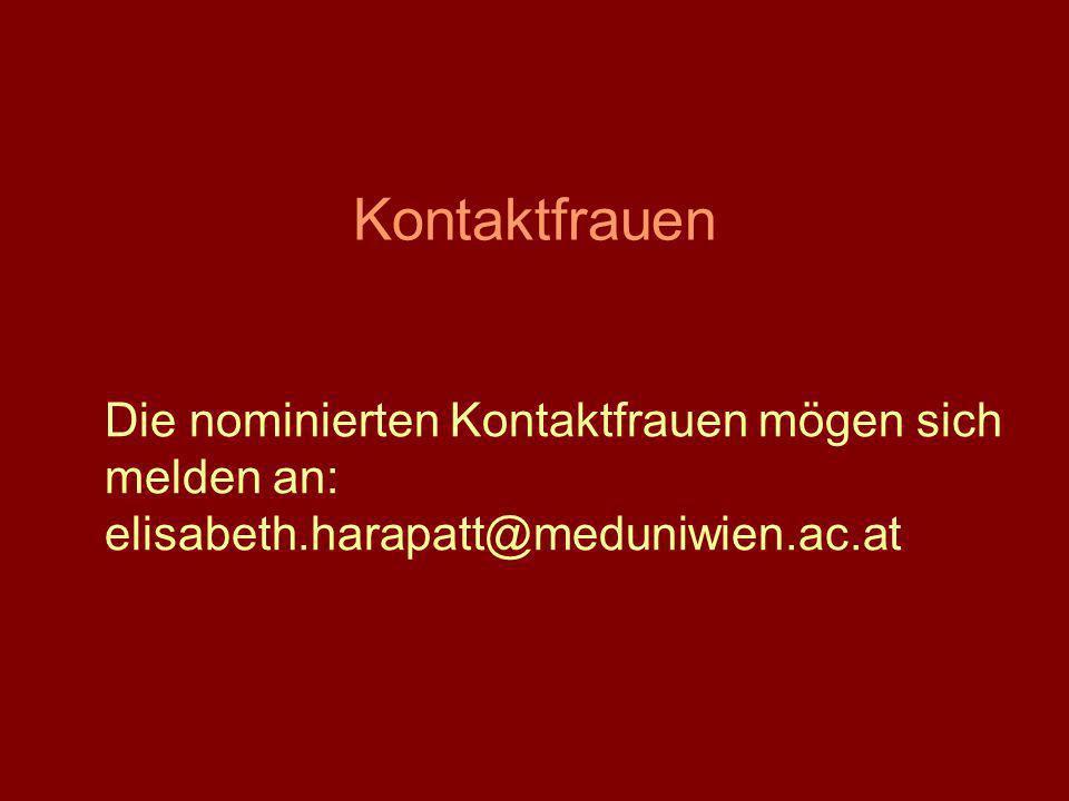Kontaktfrauen Die nominierten Kontaktfrauen mögen sich melden an: elisabeth.harapatt@meduniwien.ac.at.