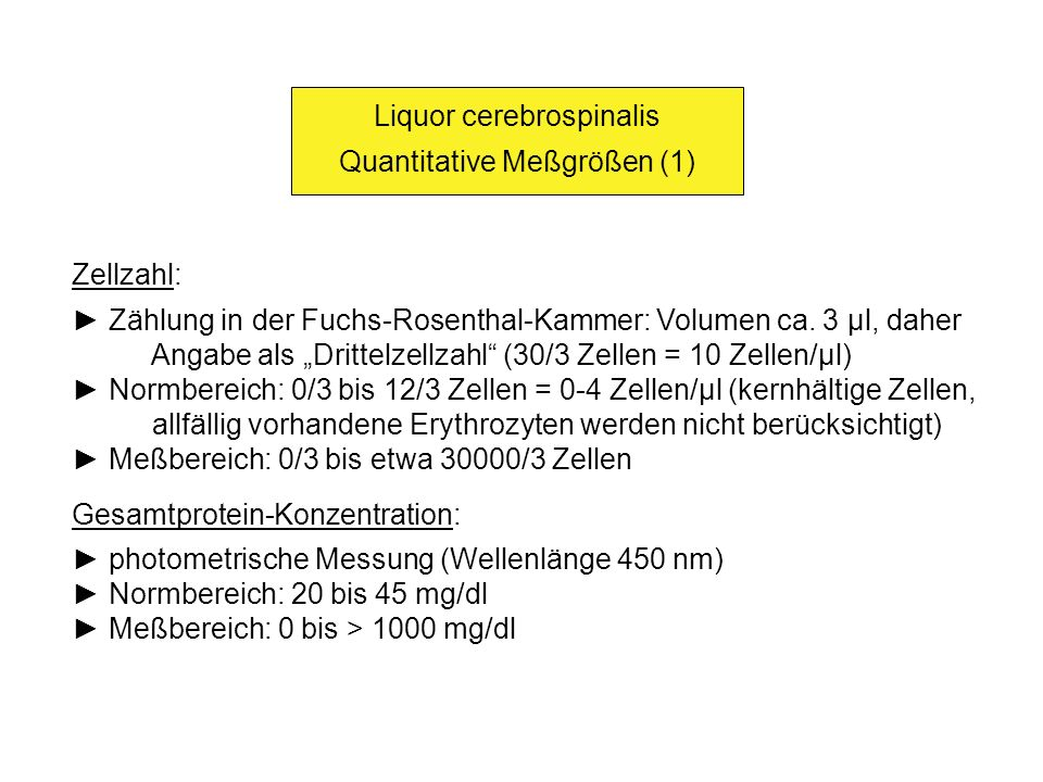 Liquor cerebrospinalis Quantitative Meßgrößen (1)