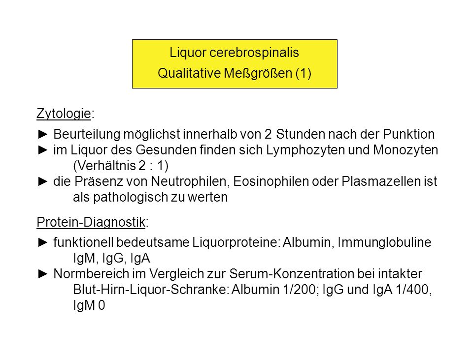 Liquor cerebrospinalis Qualitative Meßgrößen (1)