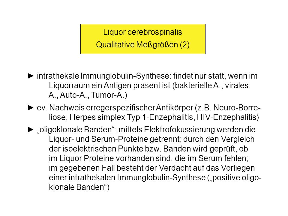 Liquor cerebrospinalis Qualitative Meßgrößen (2)