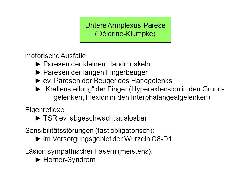 Untere Armplexus-Parese