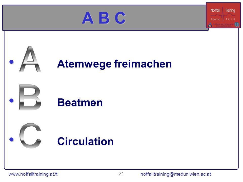 A B C Atemwege freimachen Beatmen Circulation A B C