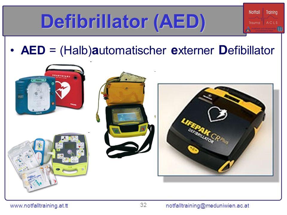 Defibrillator (AED) AED = (Halb)automatischer externer Defibillator
