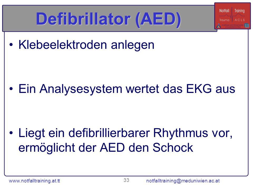 Defibrillator (AED) Klebeelektroden anlegen