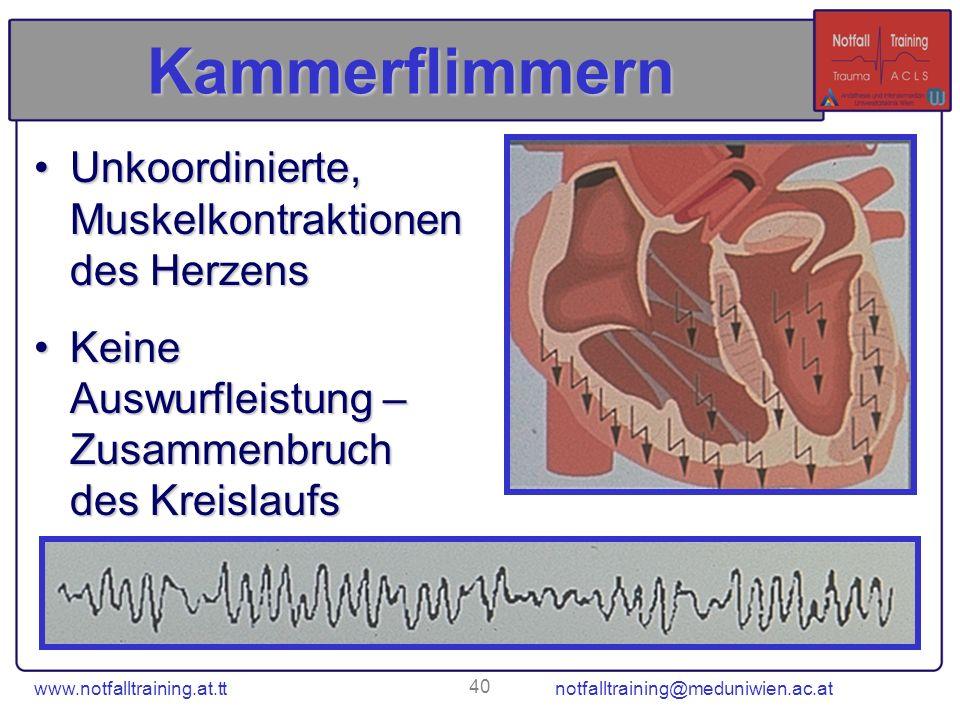 Kammerflimmern Unkoordinierte, Muskelkontraktionen des Herzens