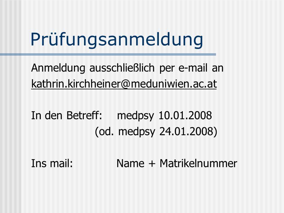 Prüfungsanmeldung Anmeldung ausschließlich per e-mail an