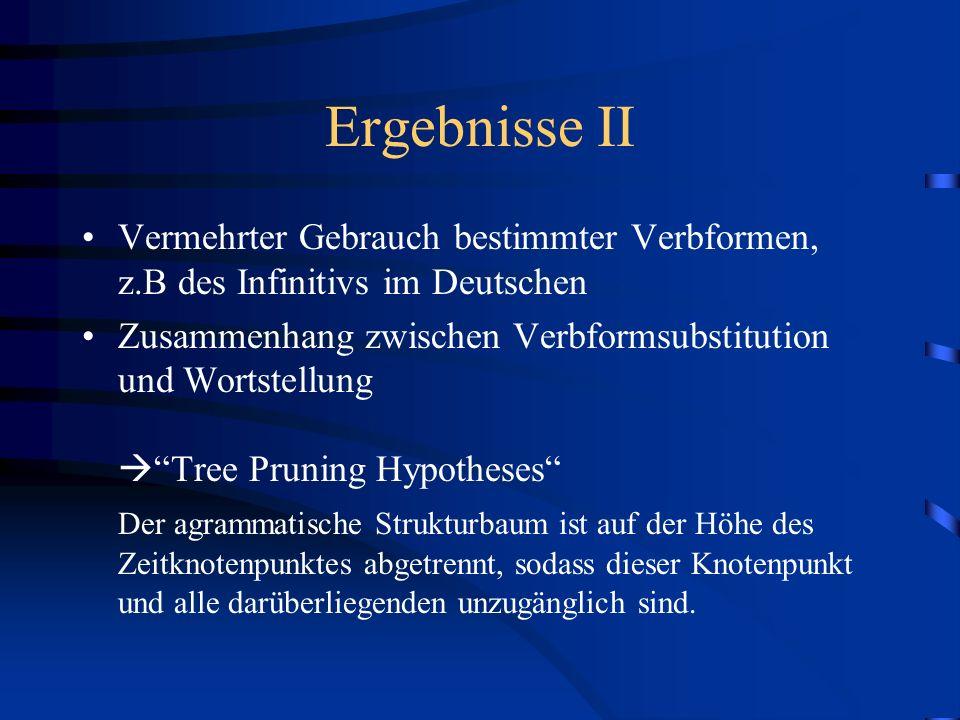 Ergebnisse II Vermehrter Gebrauch bestimmter Verbformen, z.B des Infinitivs im Deutschen.