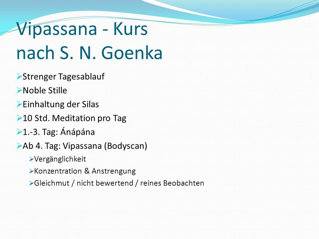 Vipassana - Kurs nach S. N. Goenka